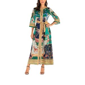 Fashion Palace Print Maxi Cropped Sleeve Vintage Dress for Women (Color:As Show Size:S)