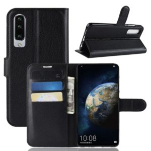 Litchi Texture Horizontal Flip Leather Case for Huawei P30, with Holder & Card Slots & Wallet (Black)