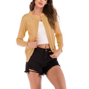 Fashion Cardigan Solid Color Knit Sweater (Color:Yellow Size:XL)