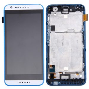 Original LCD Screen and Digitizer Full Assembly with Frame for HTC Desire 620 (White + Blue)