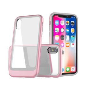 Transparent PC Full Coverage Shockproof Protective Case for iPhone X / XS (Rose Gold)
