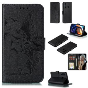 Feather Pattern Litchi Texture Horizontal Flip Leather Case with Wallet & Holder & Card Slots For Galaxy A60(Black)
