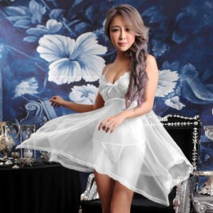 FunAdd Women Sexy Sheer Solid Color Lace Strap Dress Chemise Babydoll Lingerie with G-string White, Size: Fit Weight 40-60kg (FunAdd)