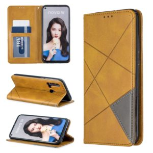 Rhombus Texture Horizontal Flip Magnetic Leather Case with Holder & Card Slots For Huawei P20 lite (2019) / nova 5i(Yellow)