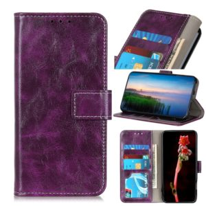 Retro Crazy Horse Texture Horizontal Flip Leather Case with Holder & Card Slots & Wallet & Photo Frame for LG W30(Purple)