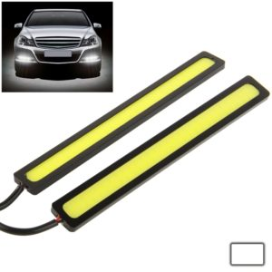 2 x 6W DIY White LED Daytime Running Light / DRL Lamp, Length: 14cm(Black)