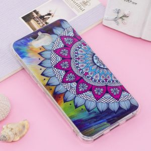 For Huawei Y5 (2017) / Y6 (2017) Noctilucent IMD Half Flower Pattern Soft TPU Back Case Protector Cover