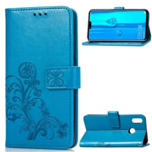 Lucky Clover Pressed Flowers Pattern Leather Case for Huawei Y9 (2019) / Enjoy 9 Plus, with Holder & Card Slots & Wallet & Hand Strap (Blue)