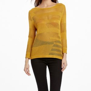 Spring and Summer Sexy Hollow Pullover Pure Color Thin Section Sweater, Size: M(Yellow )
