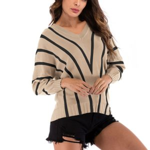Autumn and Winter Solid Color Long-sleeved Pullover Sweater (Color:Khaki Size:M)