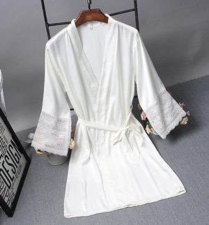 Robes Elegant Sleepwear Sexy Lace Women Dressing Kimono Silk Bath Robe, Size:XXL(White)