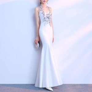 Slim Sexy Noble Temperament Long Fishtail Banquet Evening Dress, Size:XS(White)