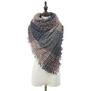 Autumn and Winter Warm Double-sided Color Grid Circle Yarn Large Square Towel Thorn Hair Bib Shawl for Women (A728)