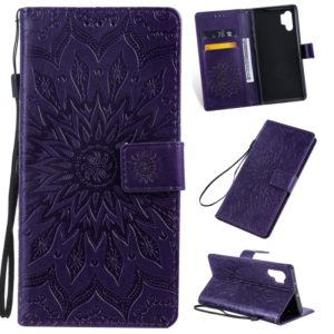 Pressed Printing Sunflower Pattern Horizontal Flip PU Leather Case for Galaxy Note 10+ / Note 10 Pro, with Holder & Card Slots & Wallet & Lanyard (Purple)