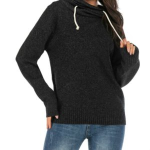 Casual Long-sleeved Hooded Sweater, Size:M(Black)