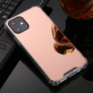 For iPhone 11 Pro Max TPU + Acrylic Four Drop Luxury Plating Mirror Phone Case Cover(Rose Gold)