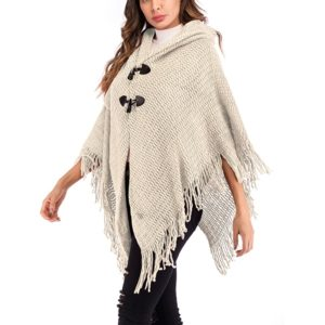 Knitted Shawl Cardigan Coat Blouse (Color:White Size:One Size)