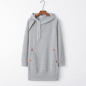 Hooded Zippered Mid-length Dress (Color:Light Grey Size:XL)