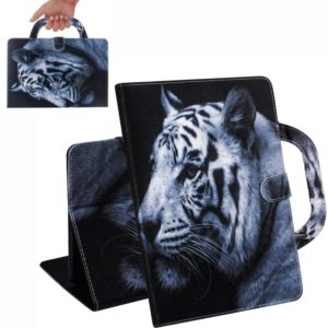 White Tiger Pattern Horizontal Flip Leather Case for Huawei MediaPad T5, with Holder & Card Slot & Wallet