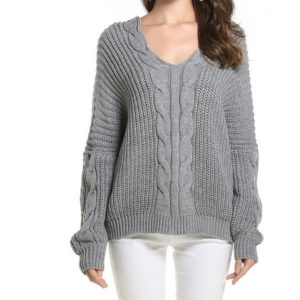 V-neck Fashion Twisted Knit Loose Pullover Sweater, Size: One Size( Gray )