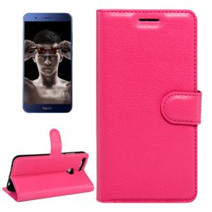 For Huawei Honor V9 / V8 Pro Litchi Texture Horizontal Flip Leather Case with Magnetic Buckle & Holder & Card Slots & Wallet (Magenta)