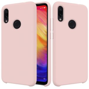 Solid Color Liquid Silicone Dropproof Protective Case for Xiaomi Redmi Note 7(Pink)