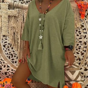 Women Long Sleeve Loose Solid Color Dress (Color:Army Green Size:5XL)