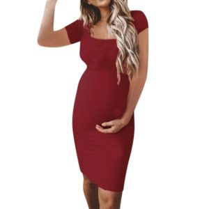 Pregnanty O-Neck Short Sleeve Solid Color Dress, Size:M(Wine Red)