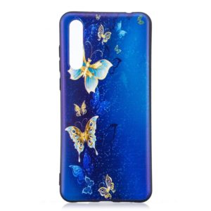 Embossment Patterned TPU Soft Protector Cover Case for Huawei Mate 20 Pro(Golden Butterfly)