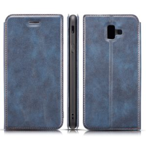 Retro Simple Ultra-thin Magnetic Horizontal Flip Leather Case for Galaxy J6 Plus, with Holder & Card Slots & Lanyard(Blue)
