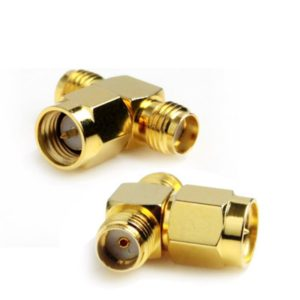 SMA Male to 2 SMA Female Adapter (T Type), Gold Plated(Yellow)