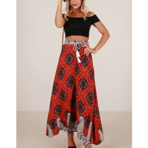 Printed Shrinkable Lace Maxi Skirt (Color:Red Size:S)