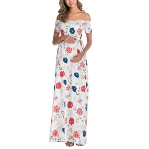 Short Sleeve Flat Shoulder Print Lapel Maternity Dress (Color:White Size:XXL)
