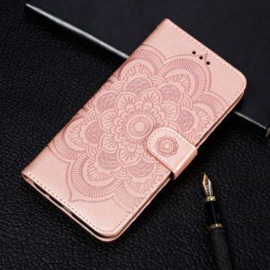 Mandala Embossing Pattern Horizontal Flip Leather Case for Motorola Moto P40 Play, with Holder & Card Slots & Wallet & Photo Frame & Lanyard(Rose Gold)