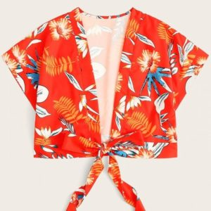 Plant Printed Cropped Shirt (Color:Red Size:M)