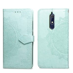 For Nokia 5.1 Halfway Mandala Embossing Pattern Horizontal Flip Leather Case with Holder & Card Slots & Wallet & Lanyard(Green)