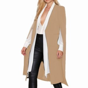 Women Casual Cape Unbuttoned Shawl Coat(Color:Khaki Size:M)