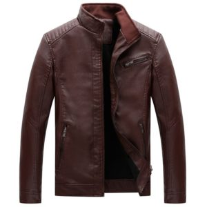 Men Casual Non-iron Stand Collar PU Leather Jacket(Color:Wine Red Size:XXXXL)
