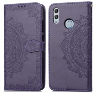 For Huawei Honor 10 Lite Halfway Mandala Embossing Pattern Horizontal Flip Leather Case with Holder & Card Slots & Wallet & Lanyard(Purple)
