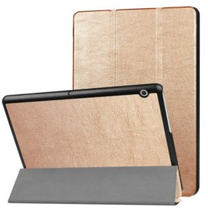 For Huawei MediaPad T3 10 Custer Texture Horizontal Flip Leather Case with Three-folding Holder(Gold)