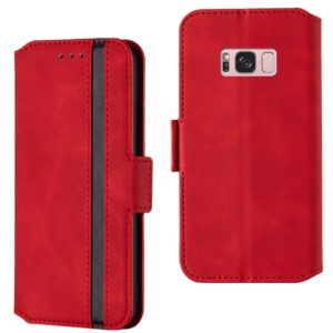 For Galaxy S8+ Retro Frosted Oil Side Horizontal Flip Case with Holder & Card Slots(Red)