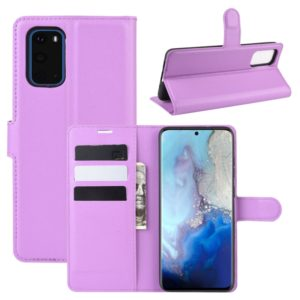 For Galaxy S20 Litchi Texture Horizontal Flip Protective Case with Holder & Card Slots & Wallet(Purple)