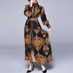 Retro Print Loose Long-sleeved Big Swing Dress (Color:As Show Size:XL)