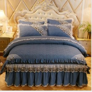 Luxury Thick Cotton Bed Skirt with Lace Edge Non-slip Bedding Set, Size:1.8x2.0m(4-Piece)(Dark Blue)