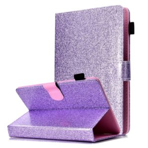 For 8 inch Tablet Varnish Glitter Powder Horizontal Flip Leather Case with Holder & Card Slot(Purple)