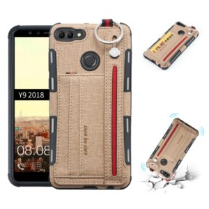 For Huawei Y9 (2018) Cloth Texture + TPU Shockproof Protective Case with Metal Ring & Holder & Card Slots & Hanging Strap(Khaki)