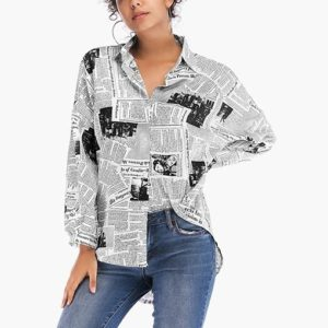 Casual Geometric Print Shirt (Color:5889 Black Size:M)