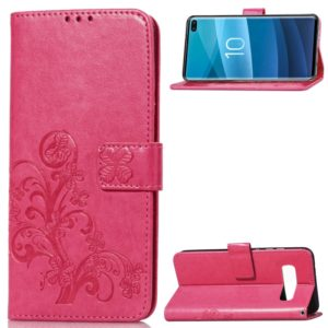 Lucky Clover Pressed Flowers Pattern Leather Case for Galaxy S10+, with Holder & Card Slots & Wallet & Hand Strap(Rose Red)