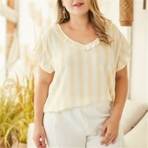Lace V-neck Striped Short Shirt Feifei Sleeve Loose Women T-shirt (Color:Yellow Size:XXXL)