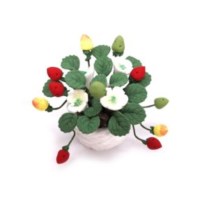 1:12 Mini House Toy Simulation Strawberry Fruit Potted Clay Flower(Potted Strawberry)